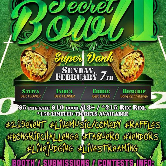 EPIC parties? Um yes!! -#theSecretBowl in San Diego! Upnugevents@gmail.com for submission booth bong rip challenge info! $5 VIP list when u #Like #Follow #share #Share