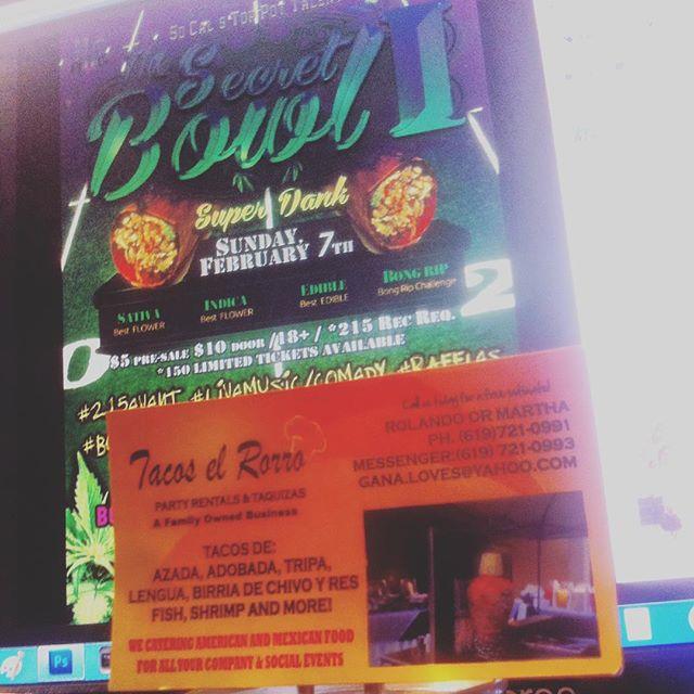 #TacosElRorro will be making bomb tacos, burritos & tortas at SecretBowl!!!!$5deals!!!